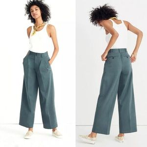 Madewell Pleated Front Wide Leg Sz 8 Green Stretch